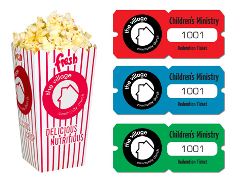 Popcorn box-kids check in tickets
